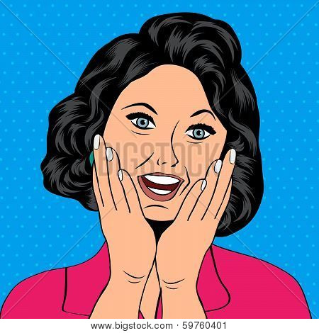 Pop Art Illustration Of A Laughing Woman