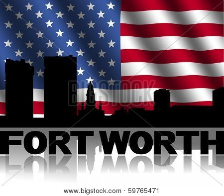 Fort Worth skyline and text reflected with rippled American flag illustration