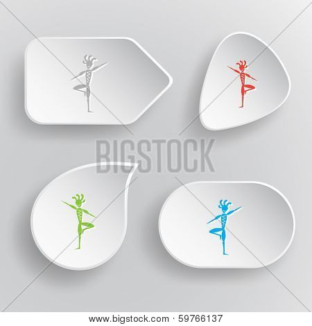 Ethnic little man as yogi. White flat vector buttons on gray background.