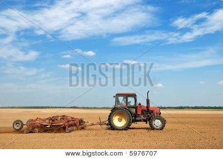 Agriculture Ploughing Tractor Outdoors