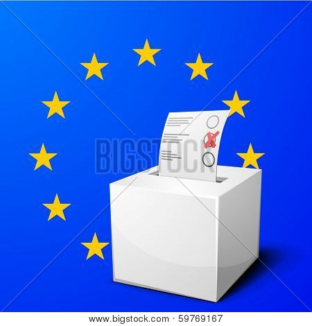 detailed illustration of a ballot box in front of the European Flag