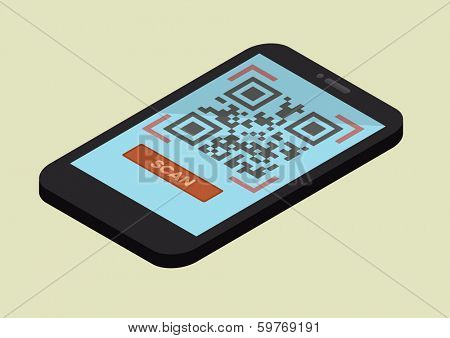 minimalistic illustration of  a smartphone in isometric view with a running QR-Code scan application, eps10 vector