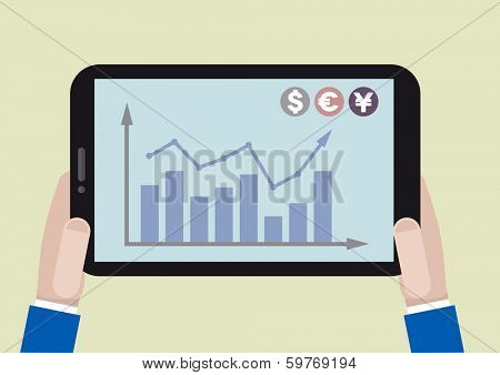 minimalistic illustration of a tablet computer with stock chart on screen, eps10 vector
