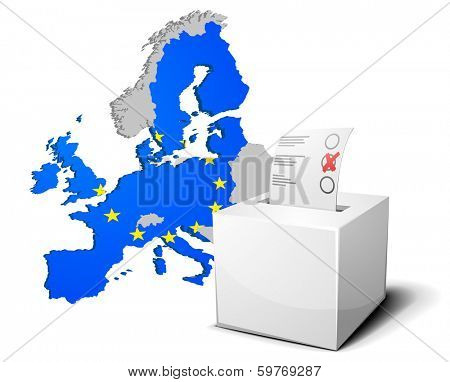 detailed illustration of a ballot box in front of the European Map, members of the European Union are colored with the European Flag