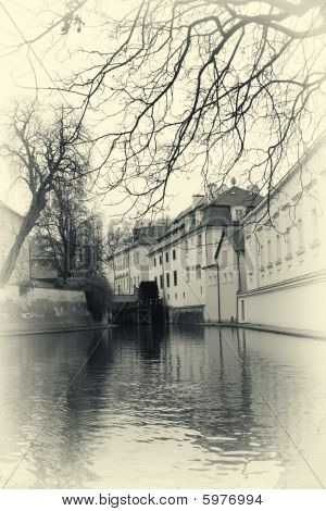Water mill In Prague Retro Photo