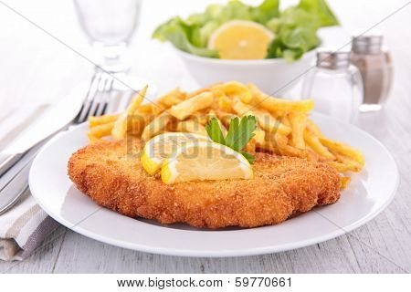 breaded fish and french fries