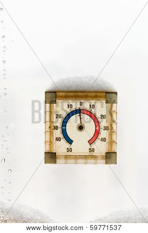 Outdoor Home Window Thermometer In Winter