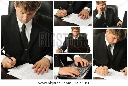 Conceptual Image-grid Of Business Photos. Office Life