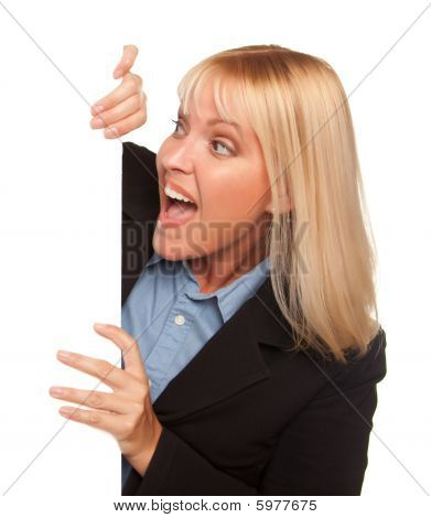 Attractive Blonde Holding Blank White Sign Edge