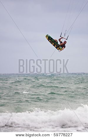 Man Goes Airborne Parasail Surfing Off Florida Coast