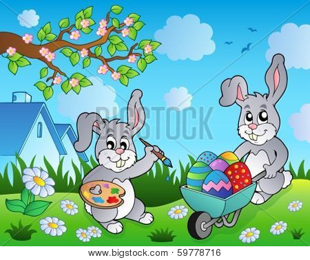 Easter bunny topic image 2 - eps10 vector illustration.