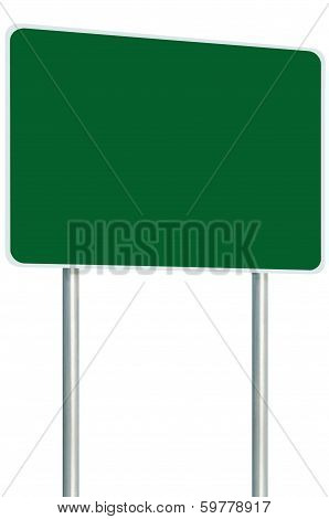 Blank Green Signboard Road Sign Isolated, Large Perspective Copy Space