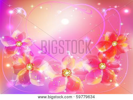 beautiful floral pink background