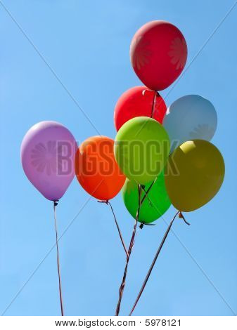 Group Of Colorful Celebration Or Birthday Barty Balloons