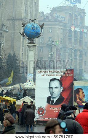 KIEV, UKRAINE - FEB 10, 2014: Stephan Bandera poster  (Ukrainian nationalist icon ). Downtown of Kiev. Riot in Kiev and Western Ukraine.February 10, 2014 Kiev, Ukraine