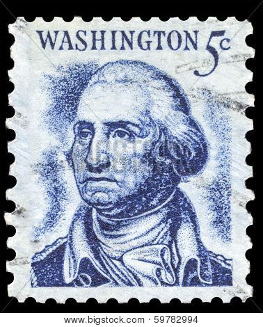 USA-CIRCA 1966: A postage stamp shows image portrait of George Washington the 1st President of the United States of America, circa 1966.