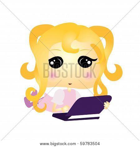 Cartoon Girl Laptop