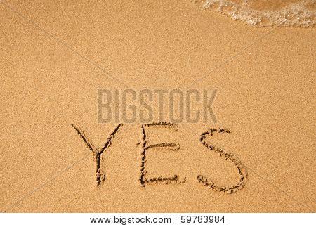 Yes - written in sand on sea beach texture