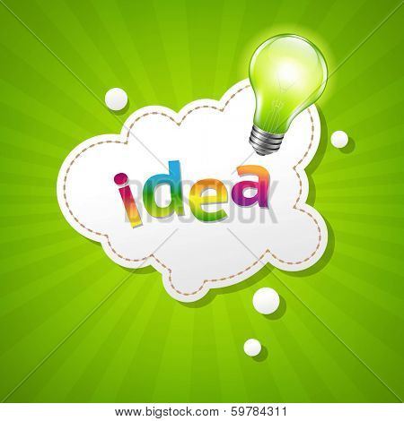 Sunburst Poster With Speech Bubble And Lamp, With Gradient Mesh, Vector Illustration