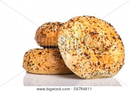 Delicious freshly baked Everything Bagel on a white background