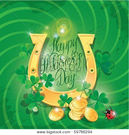 Holiday Card With Calligraphic Words Happy St. Patrick`s Day. Shamrock, Horseshoe, Ladybug And Golde