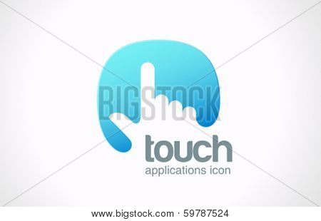 Touch screen technology abstract vector logo design template. Hand finger press on touchscreen icon