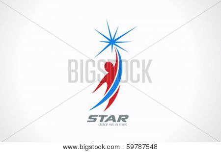 Sport Fitness Business Corporate vector logo design template. Man flying and getting Star icon