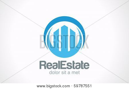 Real Estate logo design template. Skyscrapers abstract creative concept icon. Business Commercial