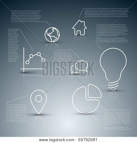 Vector diagram with various descriptive icons - infographic template