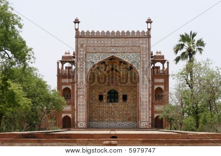 Ornate Facade Of Akbar's Tomb. Red Sandstone Inlaid With White Marble. Sikandra, Agra, India