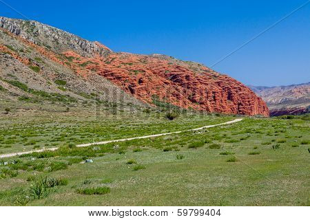 Amazing red rock formations in Kirghizia