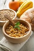 picture of chickpea  - chickpeas soup on wood bowl - JPG