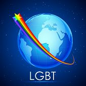 foto of transgendered  - illustration of rainbow flag color stripe around Earth showing LGBT concept - JPG