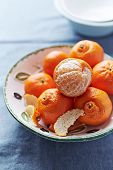 image of mandarin orange  - Mandarin Oranges in a Bowl - JPG