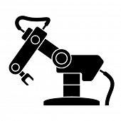 stock photo of robotics  - vector robotic arm black symbol - JPG