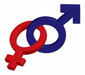 stock photo of male female  - Male and female symbol intertwined  - JPG