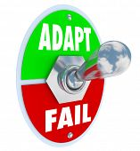 stock photo of evolve  - Adapt Vs Fail Toggle Switch Change Success Survival - JPG