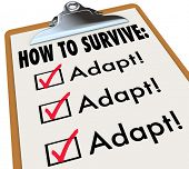 stock photo of survival  - How to Survive Adapt Clipboard Checklist Advice - JPG