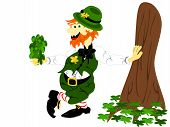 foto of fourleaf  - editable eps vector format irish leprecahun leaning against tree dressed in green suit and hat with striped red and white socks holding a bunch of fourleaf shamrocks - JPG
