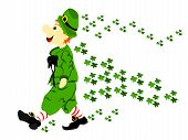 image of fourleaf  - editable eps vector format irsih cute leprechaun walking dressed in green suit and hat with large black bow and red and white striped socks with a flow of green fourleaf clover behind him - JPG