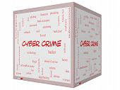 foto of malware  - Cyber Crime Word Cloud Concept on a 3D cube Whiteboard with great terms such as hacker malware data and more - JPG