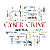 image of malware  - Cyber Crime Word Cloud Concept with great terms such as hacker malware data and more - JPG