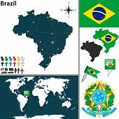 stock photo of brasilia  - Vector map of Brazil with regions coat of arms and location on world map - JPG