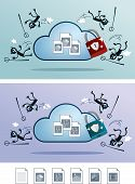 foto of fail-safe  - illustration of file in the cloud storage protected from computer virus - JPG