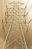 stock photo of power lines  - The high voltage electricity post in thailand - JPG