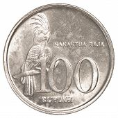 pic of palm cockatoo  - 100 Indonesian rupiah coin isolated on white background - JPG