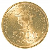 pic of dong  - 5000 vietnamese dong coin isolated on white background - JPG