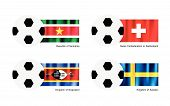 picture of suriname  - .An Illustration of Soccer Balls or Footballs with Flags of Suriname, Swiss Confederation or Switzerland, Swaziland and Sweden Isolated on A White Background. - JPG