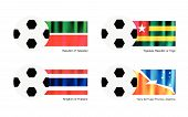 stock photo of tierra  - An Illustration of Soccer Balls or Footballs with Flags of Tatarstan Togolese Republic or Togo Thailand and Tierra del Fuego Province Argentina - JPG