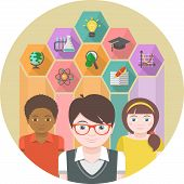 stock photo of hexagon  - Conceptual illustration of children with different symbols of sciences in colored hexagons - JPG